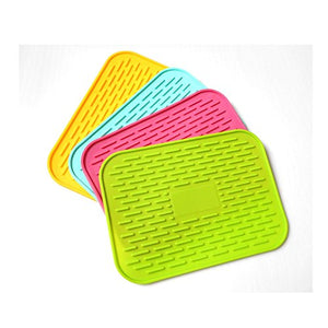 "Eightnoo 6"" X 8.5"" Silicone Pot Holder, Heat Insulated Pad, Trivet Mat, Cup Drying Mat, Tableware Pad Coasters, Baking Gadget- Waterproof, Non-Slip, Trivet, Tableware Pad Coasters, Set of 4"