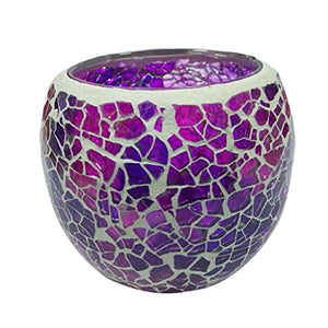 Handmade Mosaic Stained Glass Candle Holder Tea Light Succulent Planter Small Plant Flower Pot - G