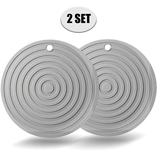 "2 Pack Silicone Trivet Mats/Hot Pads,Pot Holder,9.45""Diameter Non Slip Flexible Durable Heat Resistant Pot Coaster Kitchen Table Mats (Round Gray)"