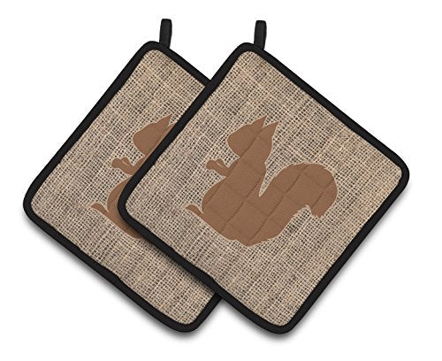 Caroline's Treasures Squirrel Faux Burlap & Brown Pair of Pot Holders BB1119-BL-BN-PTHD, 7.5HX7.5W, Multicolor