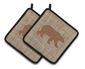 Caroline's Treasures Bear Faux Burlap & Brown Pair of Pot Holders BB1005-BL-BN-PTHD, 7.5HX7.5W, Multicolor