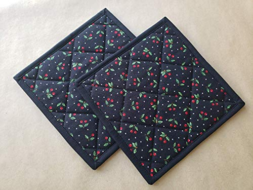 Black Red Cherries Potholders Set of 2 Quilted Trivets Pair of Hot Pads Pot Holders Retro Gift Ideas Vintage Kitchen Home Decor Cherry Themed Gift Ideas Gifts Under 20 Fifties Pin Up Kitchen