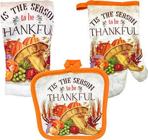 FLOMO Thanksgiving Holiday Thankful Give Thanks Kitchen Oven Mitt, Pot Holder, and Towel Kitchen Set ('Tis The Season to be Thankful' Set)