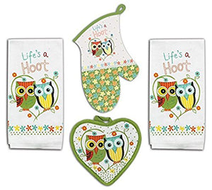 4 Piece Hoot Owl Kitchen Set - 2 Terry Towels, Oven Mitt, Potholder