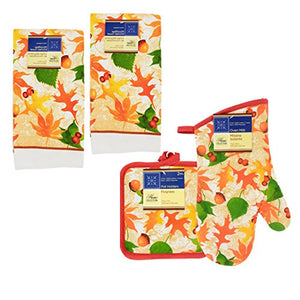 Home Collection 5 Piece Kitchen Linen Set - Vibrant Fall Leaves/Acorns Theme! Includes: 2 Towels 2 Pot Holder 1 Oven Mit