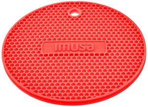 IMUSA Multipurpose Silicone Kitchen Tool, Trivet/Pot Holder, Spoon Rest, Jar Opener, Coaster, Round Heat Resistant Pad, Red