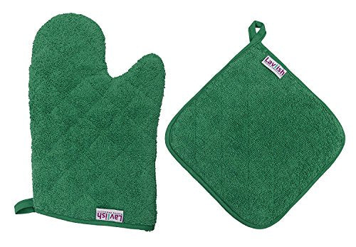 Lavlish Oven Mitt & Pot Holder Set 100% Cotton, Green