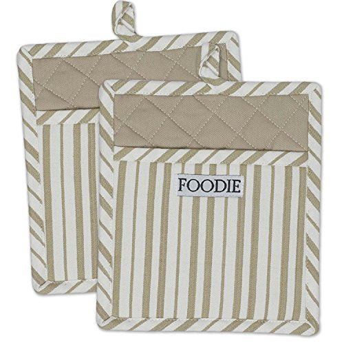 "DII Cotton Gourmet Stripe Pot Holders with Pocket, 9 x 8"" Set of 2, Machine Washable and Heat Resistant Pocket Mitts for Cooking and Baking-Mushroom Taupe"