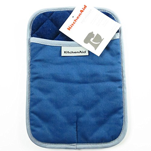 KitchenAid Cotton Pot Holder, Microfiber Lined, Printed Grid Silicone Grips (Blue Willow)