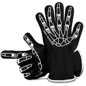 "Heat Guardian Heat Resistant Gloves – Protective Gloves Withstand Heat Up To 932? – Use As Oven Mitts, Pot Holders, Heat Resistant Gloves for Grilling – Features 5"" Cuff for Forearm Protection"