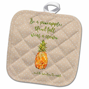 3D Rose Typography Text Watercolor Dots Pineapple Fun Cheeky Motivation Pot Holder, 8 x 8