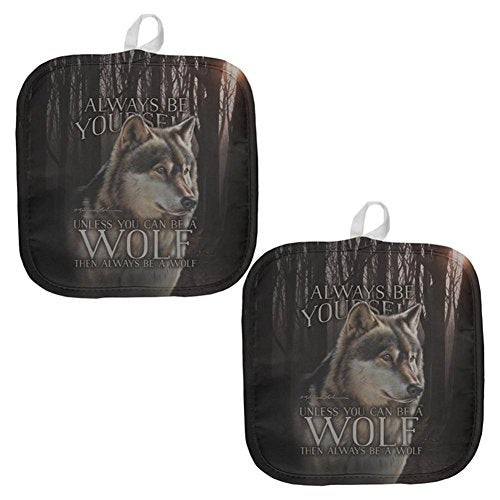 Always Be Yourself Unless Timber Wolf All Over Pot Holder (Set of 2) Multi Standard One Size