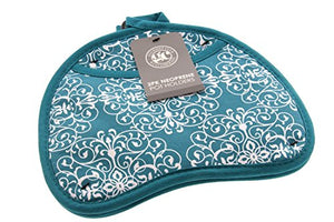 Gourmet Club Kidney Shaped Potholder w/Neoprene and Pocket for Easy Handling, Heat Resistant up to 500 degrees F, Lace Biscay Bay - 2pk