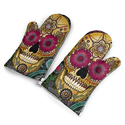 Dead Sugar Skull Picture Oven Mitts - Heat Resistant to 500?? F,1 Pair of Non-Slip Kitchen Oven Gloves for Cooking,Baking,Grilling,Barbecue Potholders