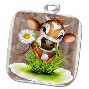 3D Rose Jersey Cow in Grass Pot Holder, 8 x 8