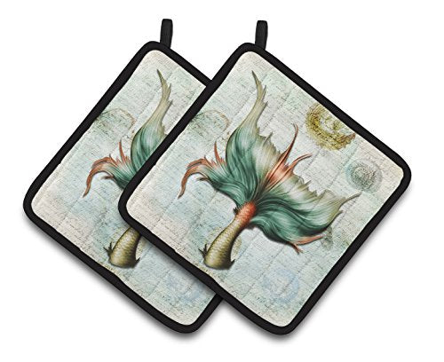 Caroline's Treasures Mermaids & Mermen Mermaid Tail Pair of Pot Holders SB3039PTHD, 7.5HX7.5W, Multicolor