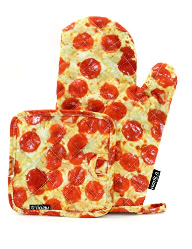 KITCH-O'LICIOUS- Oven Mitts & Pot Holder Set: PRINT Pizza
