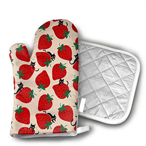 Black Cat On Red Strawberry Set of Oven Mitt and Pot Holder Or Oven Gloves-100% Cotton, High Heat Resistance, Superior Protection & Comfort¨CElegant Design-Machine Washable
