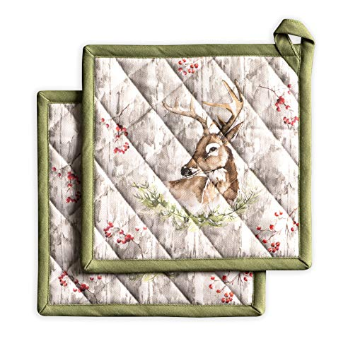 Maison d' Hermine Mountain Life 100% Cotton Set of 2 Pot Holders 8 Inch by 8 Inch. Perfect for Thanksgiving and Christmas