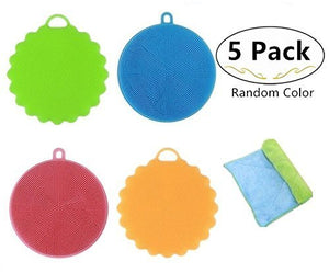 4 Packs Antibacterial Silicone Dishwashing Scrubbers and 1 Cleaning Cloth for Bonus, Carnatory Dish Towel Scrubber, Fruit and Vegetable Washer Heat Insulation Pads for Kitchen Wash Pot Pan Dish Bowl