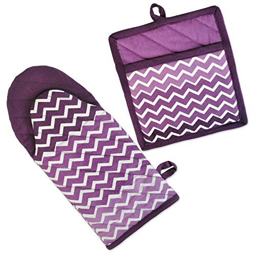 DII 100% Cotton, Machine Washable, Everyday Kitchen Basic, Chevron Printed Oven Mitt and Potholder Gift Set, Eggplant