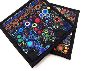 Colorful Cotton Potholders - Set of Two 8 Inch Hot Pads - Black Pot Holders