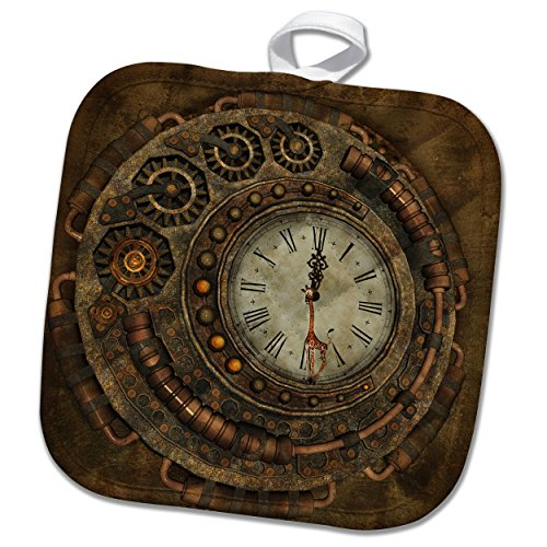 3D Rose Steampunk Awesome Clock with Cute Giraffe Pot Holder, 8 x 8