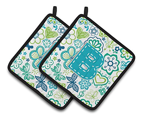 Caroline's Treasures Letter B Flowers & Butterflies Teal Blue Pair of Pot Holders CJ2006-BPTHD, 7.5HX7.5W, Multicolor