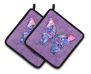 Caroline's Treasures Butterfly On Purple Pair of Pot Holders 8860PTHD, 7.5HX7.5W, Multicolor