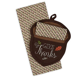 Design Imports Give Thanks Acorn 2 Piece Cotton Potholder and Dishtowel Set