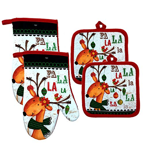 Christmas Oven Mitts and Pot Holders, Set of 4 (Merry Christmas)