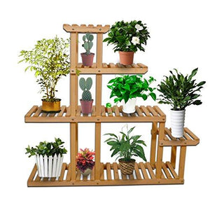 5-Tier Wooden Plant Display Stand Bonsai Flower Rack Storage Organizer Rack Shelving 10 Pot Holder for Garden Patio Corner Décor