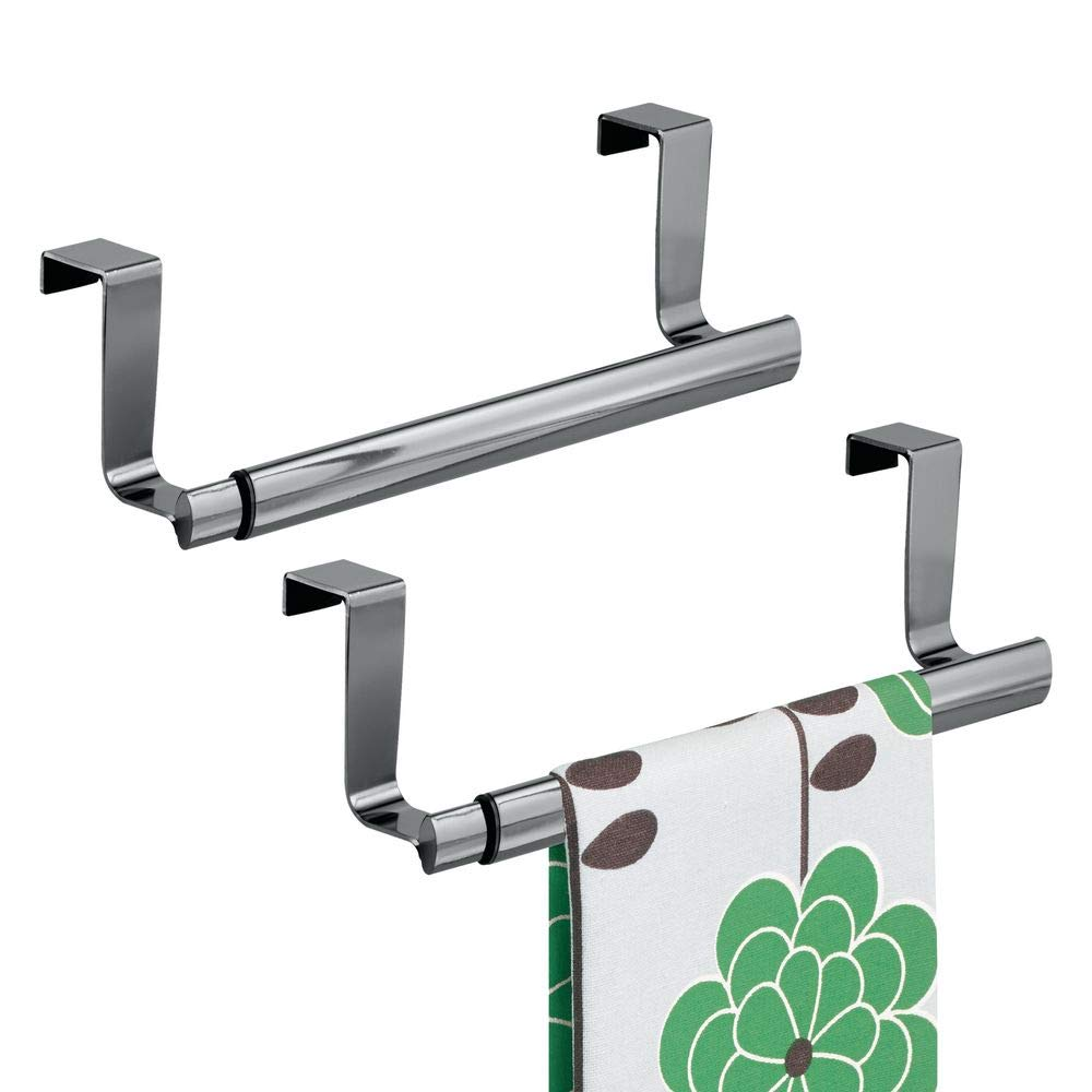 "mDesign Adjustable, Expandable Kitchen Over Cabinet Strong Steel Towel Bar - Hang on Inside or Outside of Doors, Storage for Hand, Dish, and Tea Towels - 9.25"" to 17"" Wide, 2 Pack - Black Chrome"