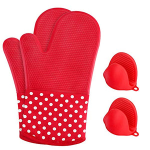 KEDSUM Heat Resistant Silicone Oven Mitts, 1 Pair of Extra Long Potholder Gloves with Bonus 1 Pair of Mini Cooking Pinch Grips, Non-Slip Cotton Lining Kitchen Glove for Baking, Barbeque, Red