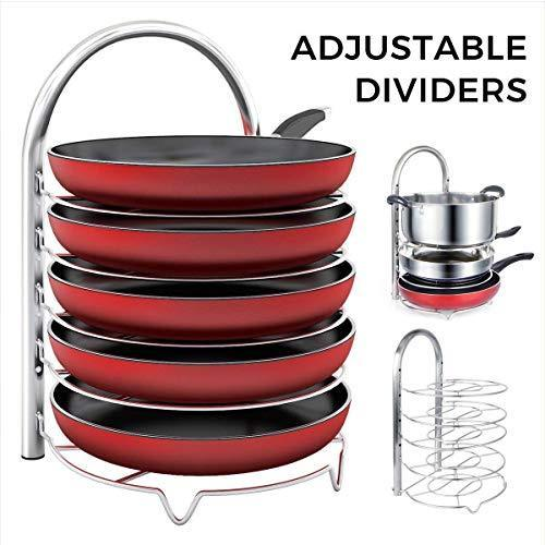 Decoformax Adjustable Pan Pot Organizer Rack for Cookware, 5-Tier Cookware Holder for Cabinet Worktop Storage