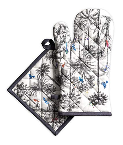 Maison d' Hermine Amazonia 100% Cotton Set of Oven Mitt (7.5 Inch by 13 Inch) and Pot Holder (8 Inch by 8 Inch). Perfect for Thanksgiving and Christmas