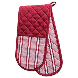 "DII Cotton Stripe Quilted Double Oven Mitt, 35 x 7.5"", Machine Washable and Heat Resistant Kitchen Moppine for Everyday Cooking and Baking-Barn Red"
