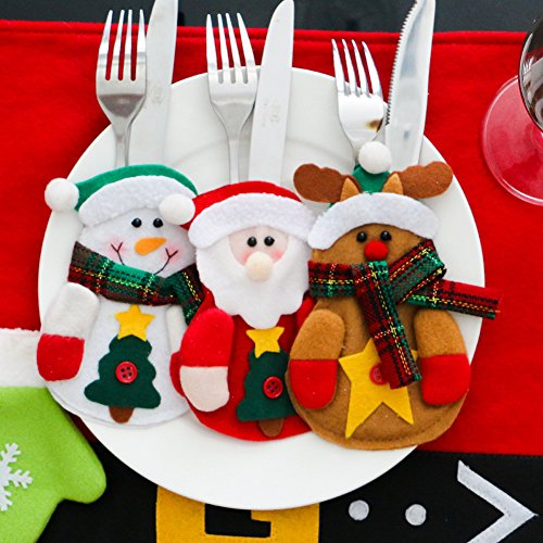 Fashionclubs Christmas Dinner Flatware Silverware Cutlery Holder Pocket,Christmas Santa Elk Snowman Shape Pack of 3
