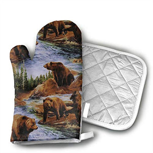 GUYDHL Unisex Oven Mitt and Pot Holder for Brown Grizzly Bears Grizzlies Wildlife Forest Animals - 2 Pair