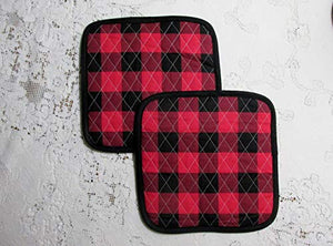 Buffalo Plaid Pot Holders or Hot Pads - Set of 2-9.5 Inch Square - Lined with Insul-Bright
