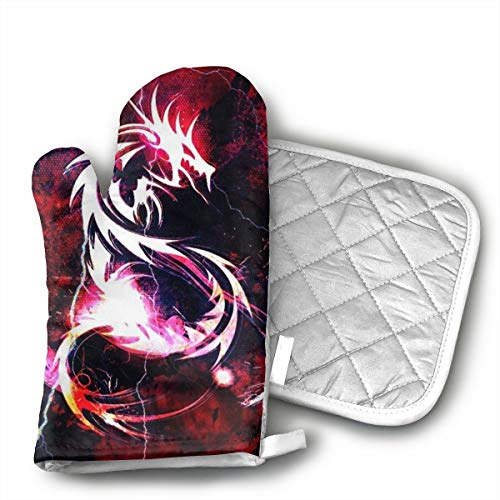 GUYDHL Unisex Oven Mitt and Pot Holder for Bloody Red Dragon - 2 Pair