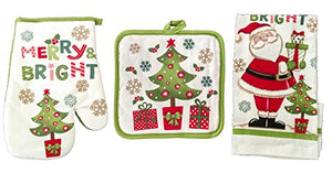 Christmas Oven Mitt Dish Towels Pot Holders Kitchen Linens Cotton Merry Bright Santa Green 3-Piece Bundle