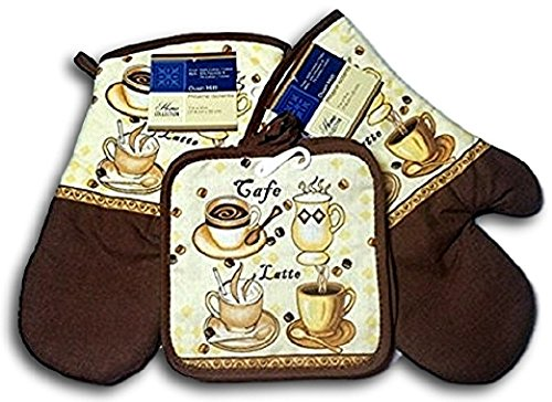 Kitchen Oven Mitt Pot Holder Kitchen Linens Oven Mitt Pot Holder Pack of 4 Oven Mitts & Pot Holders Kitchen Cooking & Baking Supplies (2 Pot Holders & 2 Oven Mitts) (Cafe Latte)