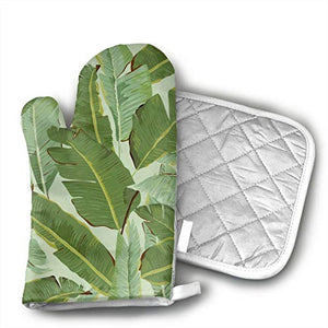 GUYDHL Unisex Oven Mitt and Pot Holder for Tropical Plant Leaf - 2 Pair