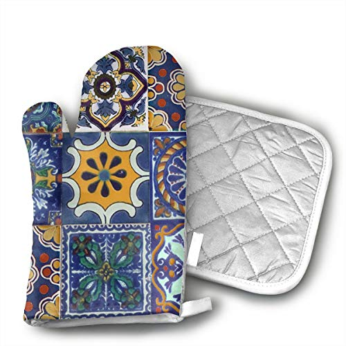 LALABULU Oven Mitts Mexican Talavera Tiles Non-Slip Silicone Oven Mitts, Extra Long Kitchen Mitts, Heat Resistant to 500Fahrenheit Degrees Kitchen Oven Gloves