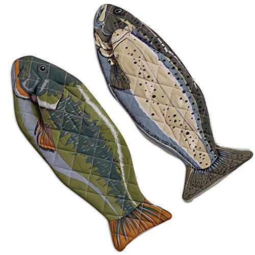 "DII Cotton Lake House Fish Oven Mitts, 6 X 16.5"" Set of 2, Machine Washable and Heat Resistant for Kitchen Cooking and Baking"