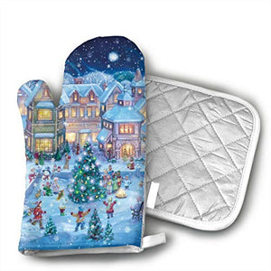Holiday Village Oven Mitt 9 X 4 and Pot Holder 6 X 6 Kitchen Gift Set,Kitchen Oven Gloves for Cooking,Baking,Grilling,Barbecue Potholders - 2 Pair
