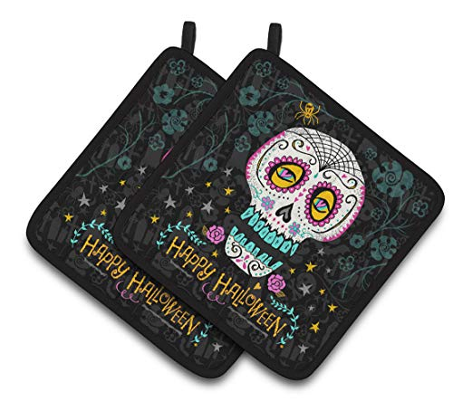 Caroline's Treasures Happy Halloween Day of The Dead Pair of Pot Holders, Multicolor
