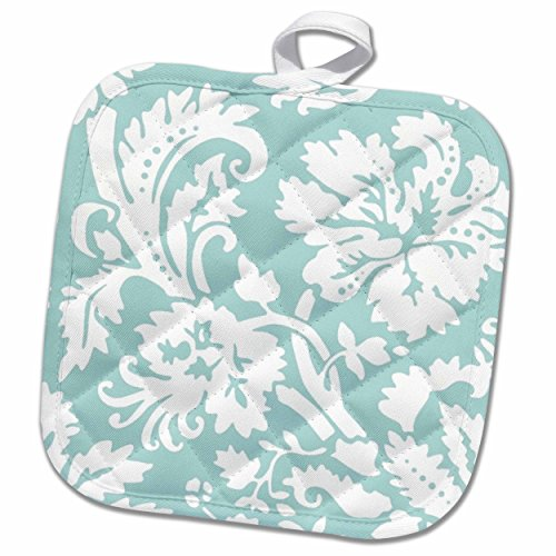 3D Rose Mint Damask Large Print Design-Modern Stylish Flowers and Leaves-Pastel Turqoise Aqua Teal Blue Pot Holder, 8 x 8