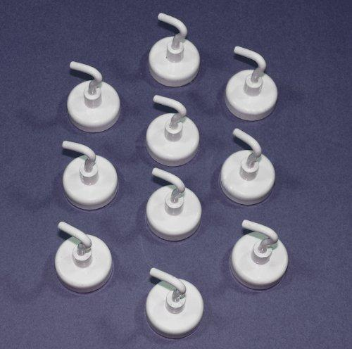 10 White Heavy Duty Magnetic Kitchen Hooks